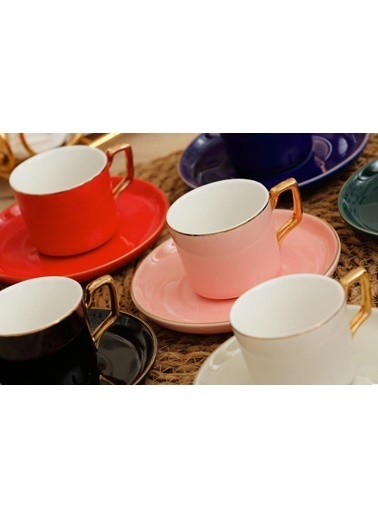 Arow 6 Renk 6 Kişilik Türk Kahvesi Fincanı Renkli